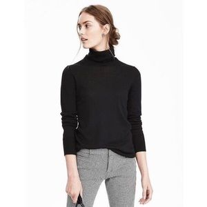Banana Republic Black Merino Wool Turtleneck